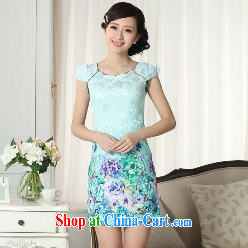 Shanghai optimization options lady stylish jacquard cotton cultivating short cheongsam dress new improved cheongsam dress Green S