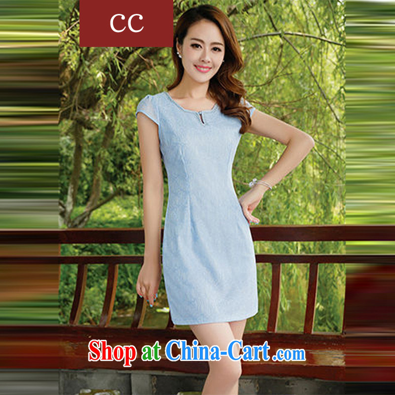 Appeals to appeal to 2015 new cheongsam dress girls daily fashion beauty Chinese improved cheongsam dress blue XL