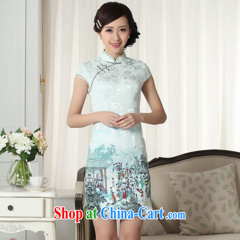 Shanghai optimization on Ms. purchase cheongsam Chinese dresses new summer elegance Chinese qipao Chinese graphics thin short cheongsam green 2 XL