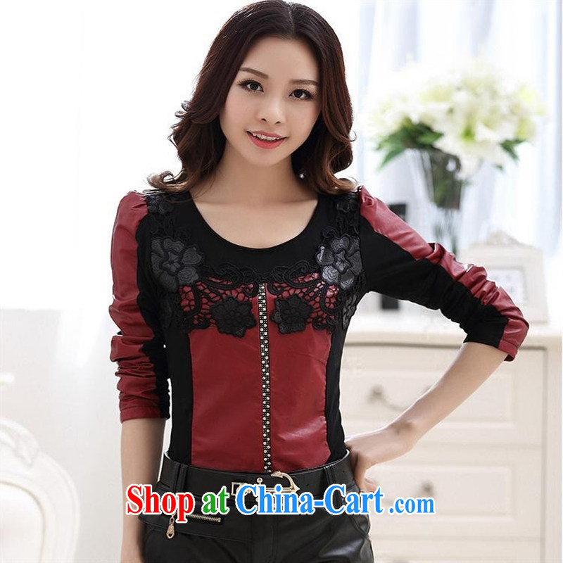 Ya-ting store the lint-free cloth solid T-shirt 2015 spring new Korean female lace stitching Pu leather round-collar long-sleeved T-shirt solid female Red XXL