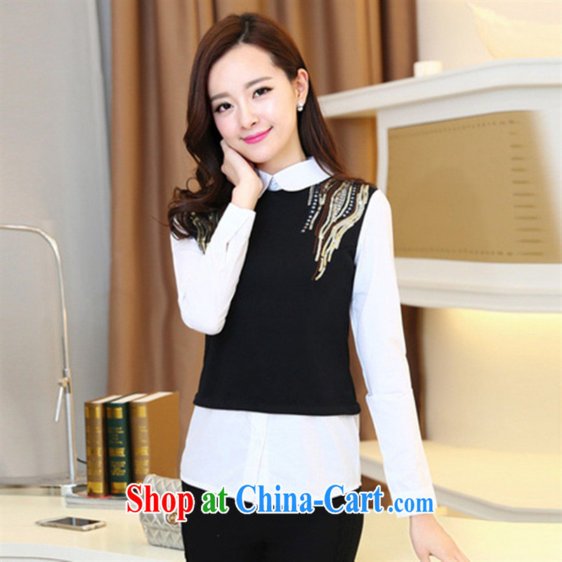 Ya-ting store 2015 spring new Korean female beauty graphics thin shirt stitching leave of two T-shirts, trendy shirt black XXL