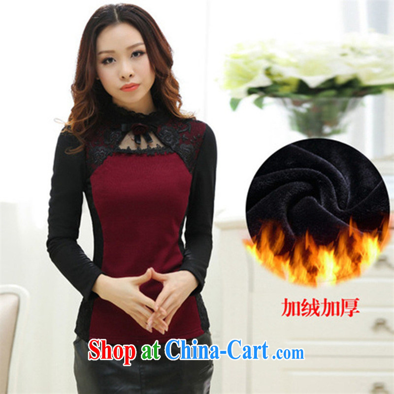 Ya-ting store the lint-free cloth thick lace solid T-shirt 2015 spring new Korean female Openwork, for solid long-sleeved T-shirt female black XXXL
