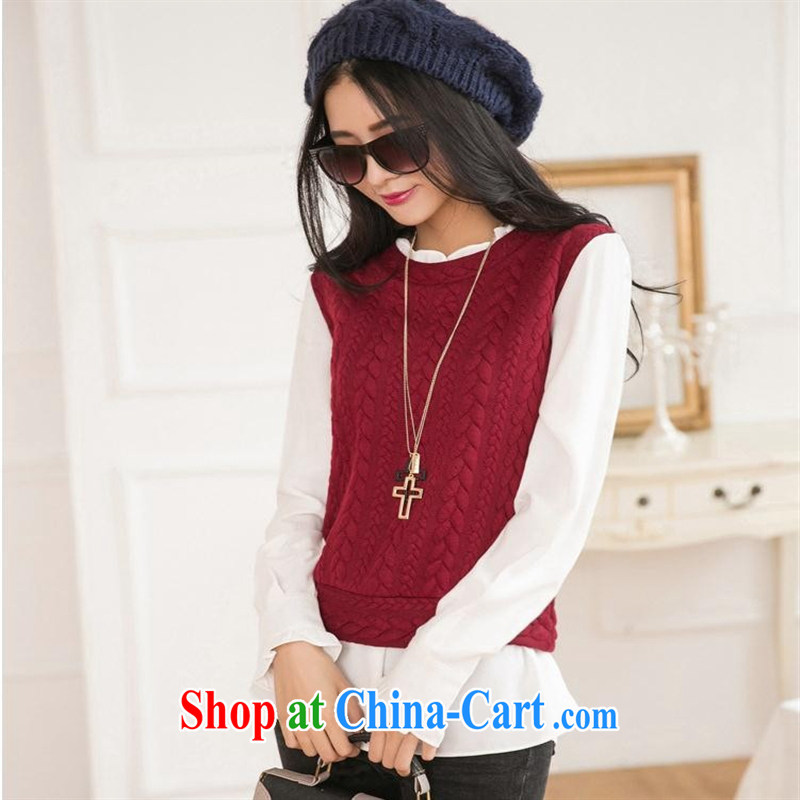 Ya-ting store 2015 spring new Korean female beauty graphics thin mushroom lace stitching leave of two long-sleeved T-shirt female wine red L
