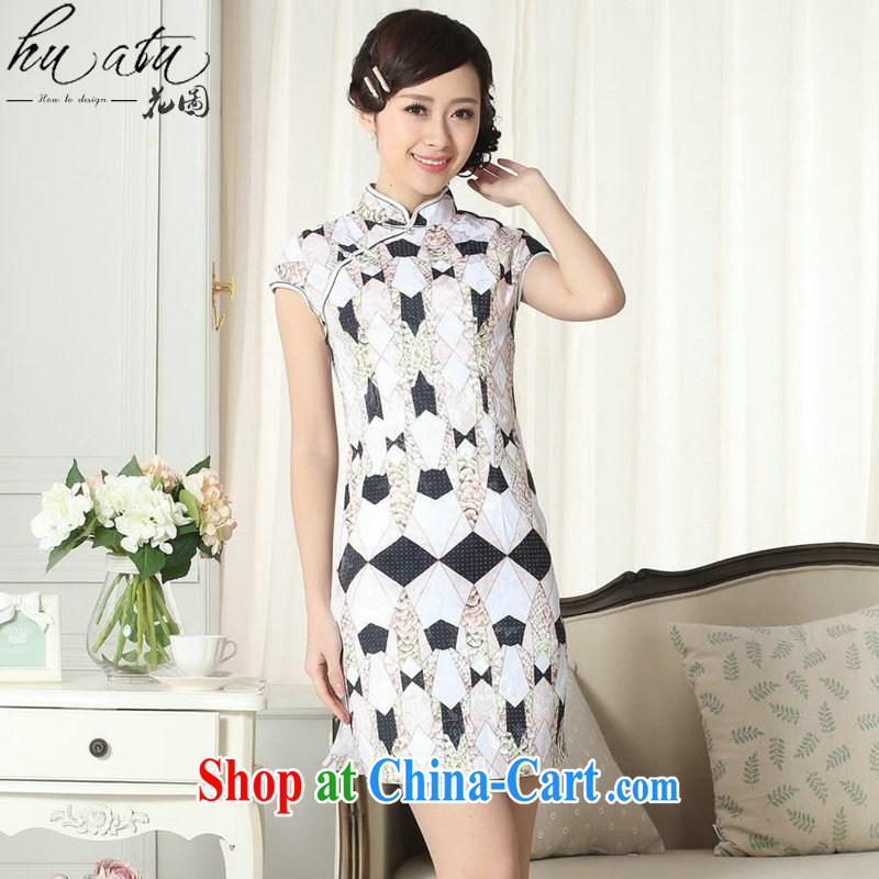 Take the new summer dresses Chinese elegance Chinese improved the collar jacquard cotton diamond graphics thin short cheongsam as shown color XL