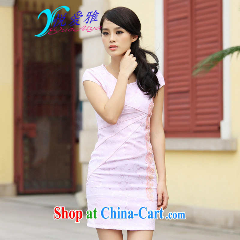 Yue love Ya 2015 spring new stylish retro improved V short-sleeved dresses beauty DRA 6902 pink XL