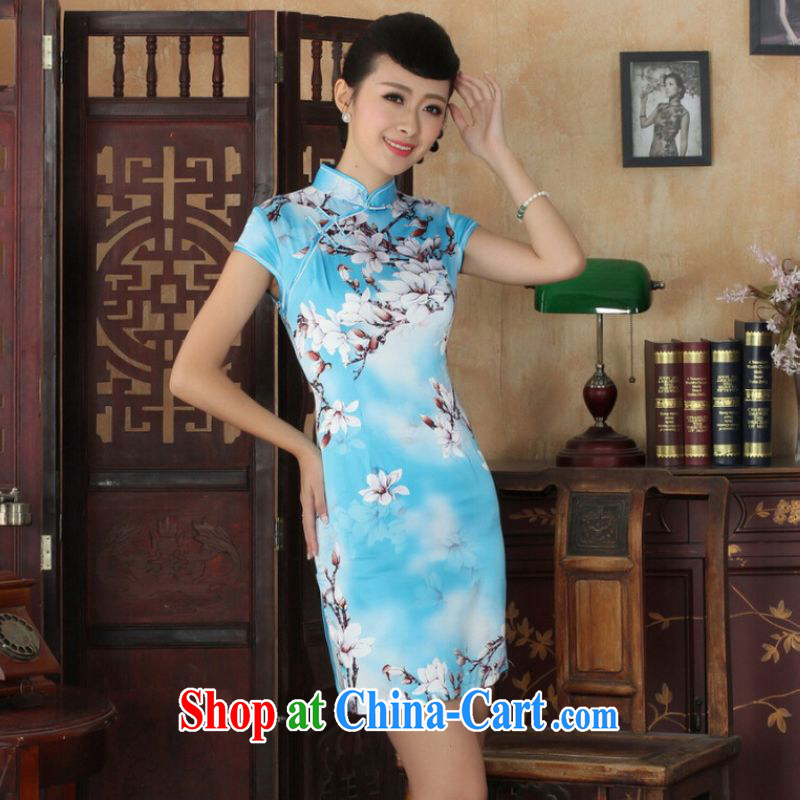 Shanghai optimization on Ms. purchase cheongsam Chinese dresses new summer elegance Chinese qipao Chinese graphics thin short cheongsam blue 2 XL