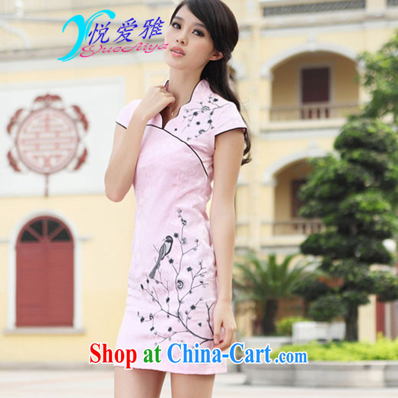 Yue love Ya 2015 summer improved stylish sexy retro China wind embroidery cheongsam A 69,033 pink XL