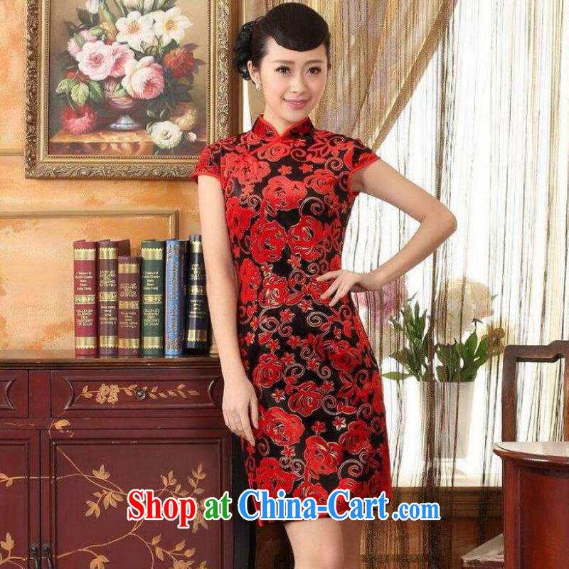 Shanghai optimization option, Ms. Tang cheongsam dress with dress stretch the wool stylish classic short-sleeved short cheongsam red 2 XL