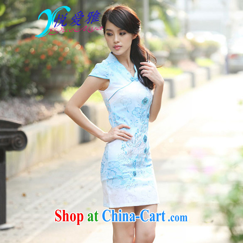 Yue love Ya 2015 summer new improved stylish retro beauty qipao DRA 69,203 blue XL