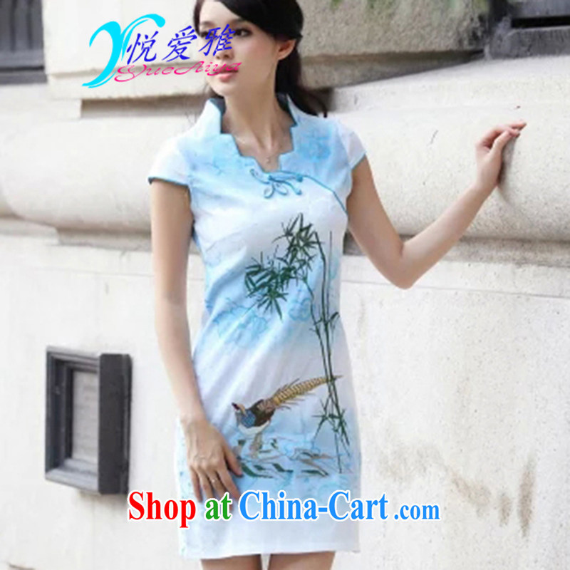 Yue love Ya 2015 New Female with short-sleeve retro cheongsam dress DRA 69,103 blue XL