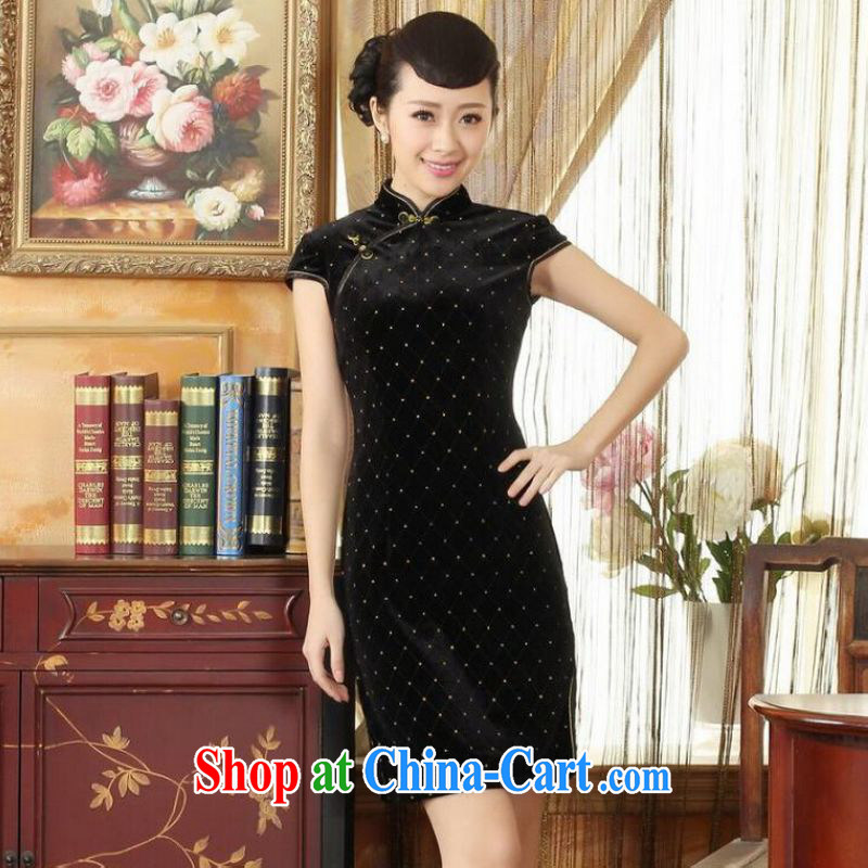 He Jing Ge Ms. Tang cheongsam dress with dress stretch the wool stylish classic short-sleeved short cheongsam black 2 XL