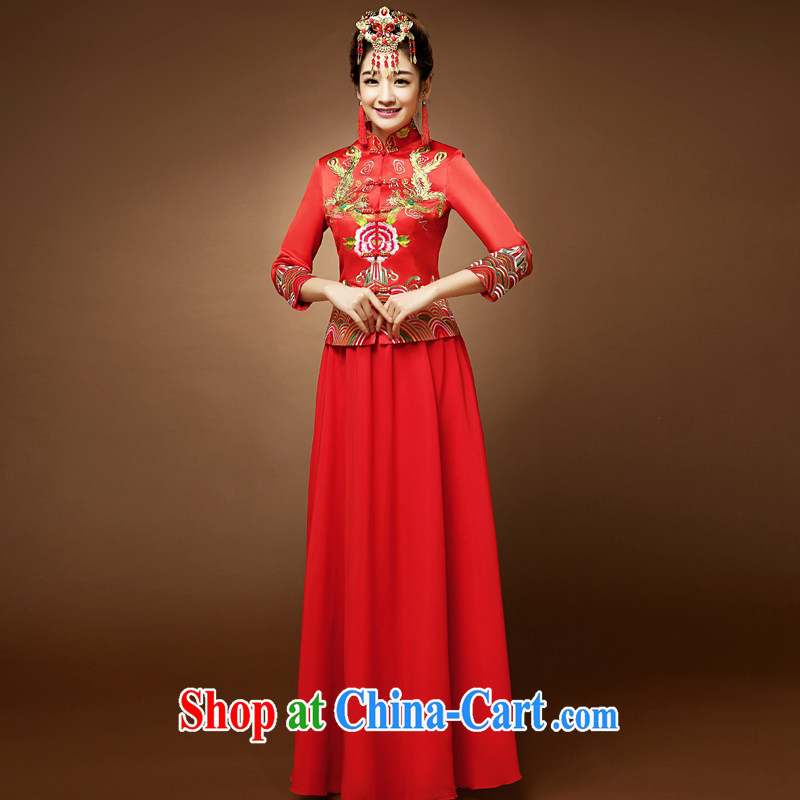 A good service is 2015 New Red bridal wedding wedding dress long Chinese 7 cuff toast dresses. Red 2 XL