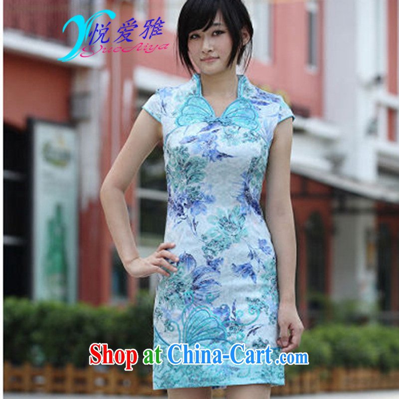 Yue love Ya 2015 new stunning Butterfly Dance cotton butterfly embroidery cheongsam exquisite DR 66,233 blue XL