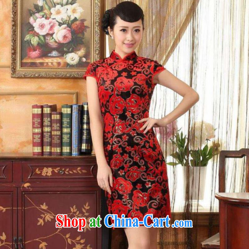 He Jing Ge Ms. Tang cheongsam dress with dress stretch the wool stylish classic short-sleeved short cheongsam red 2 XL
