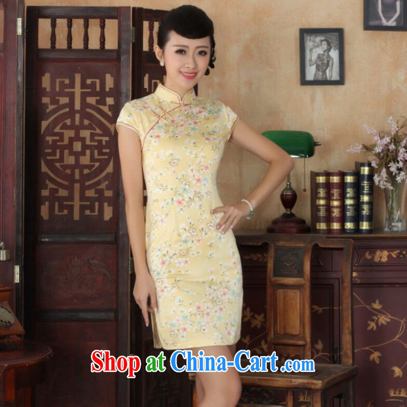 Jing and Ms. cabinet cheongsam Chinese dresses new summer elegance Chinese qipao Chinese graphics thin short cheongsam yellow 2XL