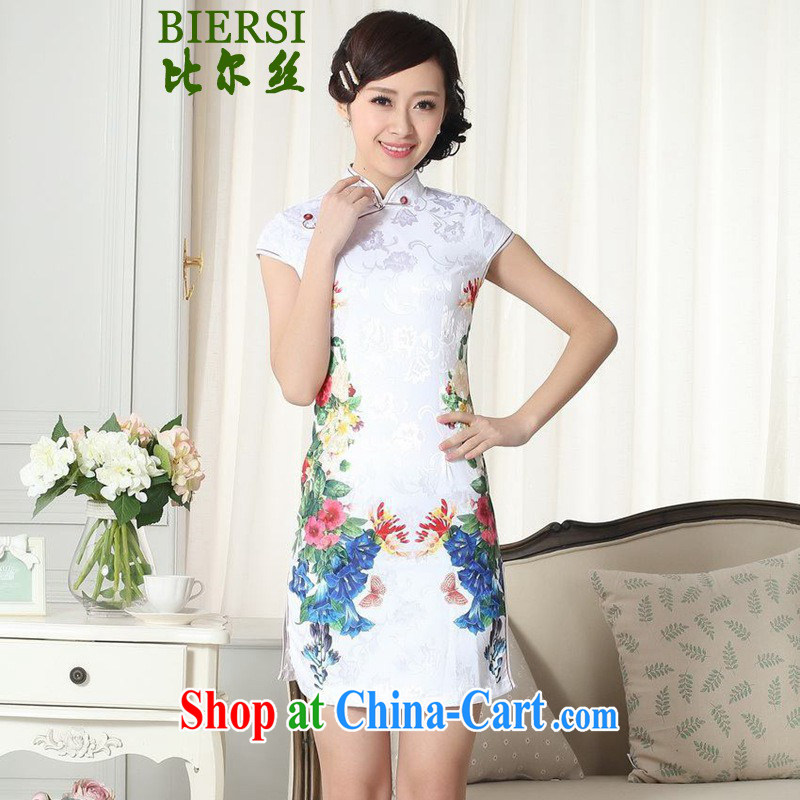 Carl Bildt, summer new Chinese qipao dress stylish jacquard cotton cultivating short cheongsam dress as figure 2 XL