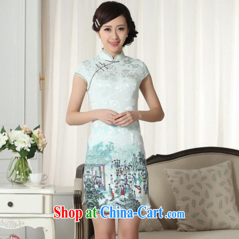 Jing and Ms. cabinet cheongsam Chinese dresses new summer elegance Chinese qipao Chinese graphics thin short cheongsam green 2 XL