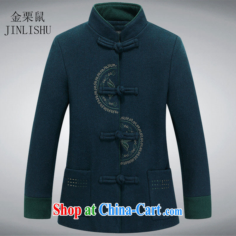 The chestnut mouse new hair, female long-sleeved Chinese China Chinese T-shirt jacket 3-color green XXXL