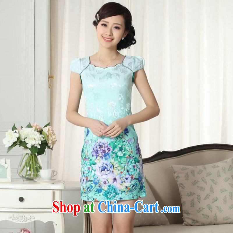 And Jing Ge lady stylish jacquard cotton cultivating short cheongsam dress new improved cheongsam dress green 2 XL