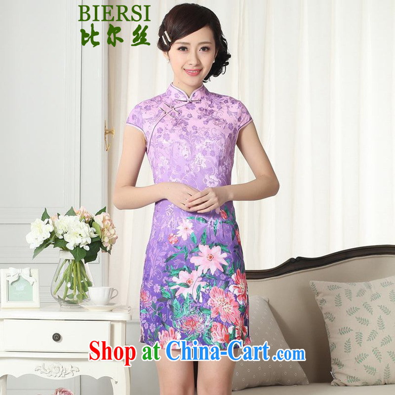 Bill's new Chinese qipao gown lady stylish jacquard cotton short-sleeved cultivating short cheongsam dress LGD/D #0274 figure 2 XL