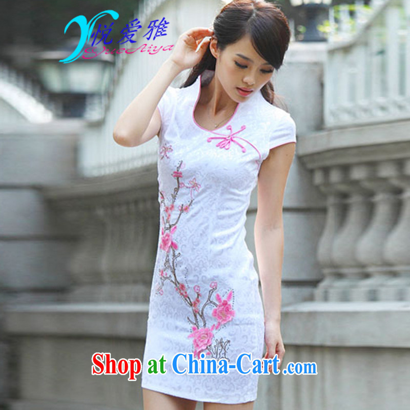 Yue love Ya 2015 summer Chinese elegant and stylish everyday improved cheongsam DRA 69,163 pink XL