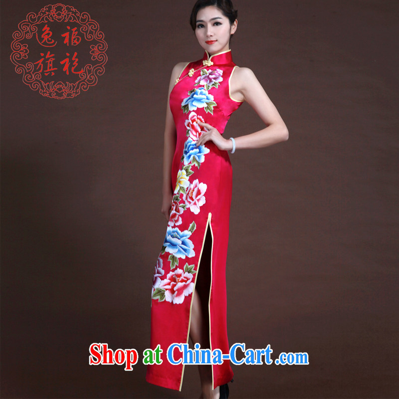 once and for all, heavy silk embroidery bridal dresses of red Peony cheongsam wedding dresses thanks toast Service Manual advanced custom dresses red tailored 20 day shipping