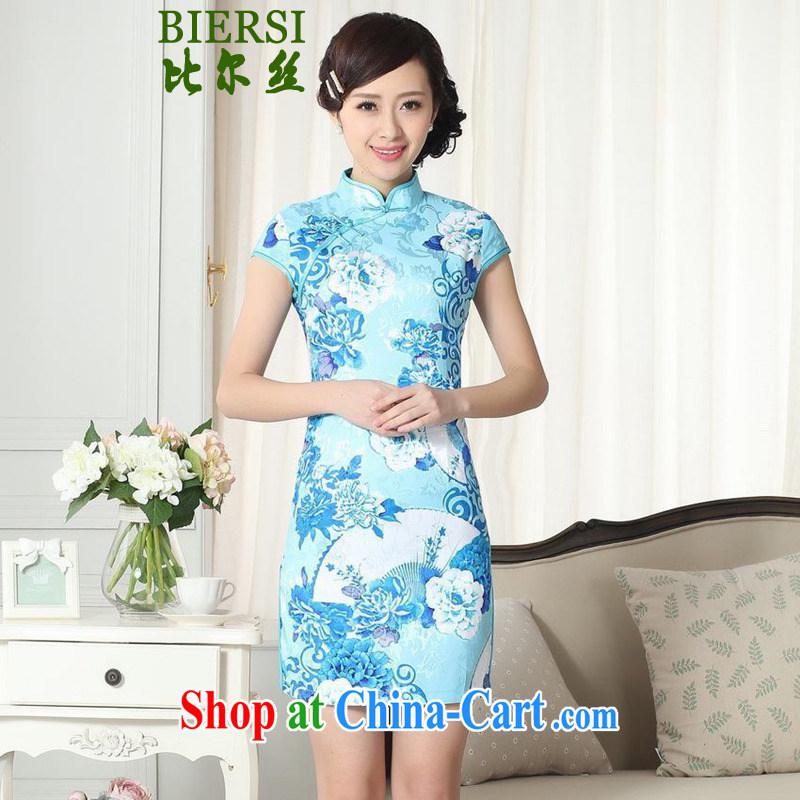 Bill's new Chinese qipao gown lady fashion, leading to a classic tray for cultivating short cheongsam dress LGD/D #0275 figure 2 XL