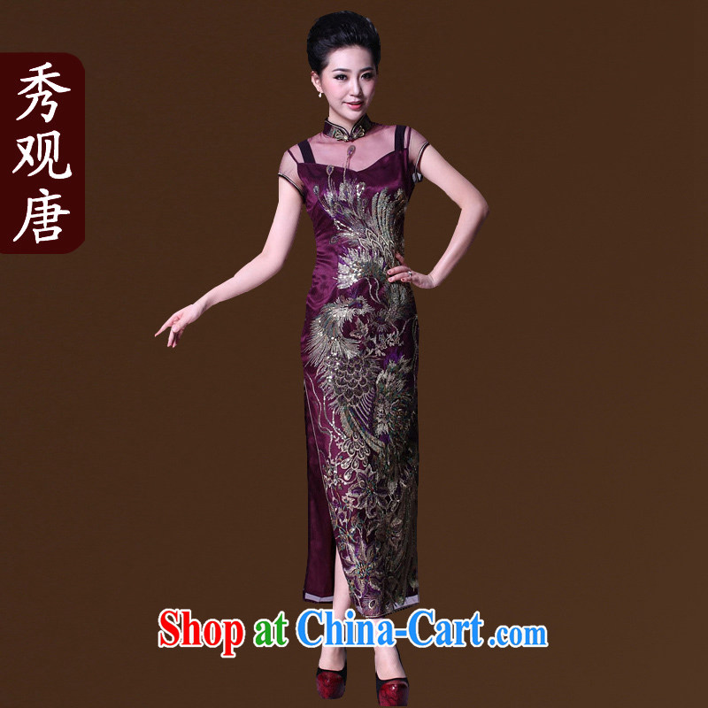 The CYD HO Kwun Tong' double-bong-sun positioning Phoenix lace cheongsam long the forklift truck high dresses evening dress G 81,157 purple XXXL