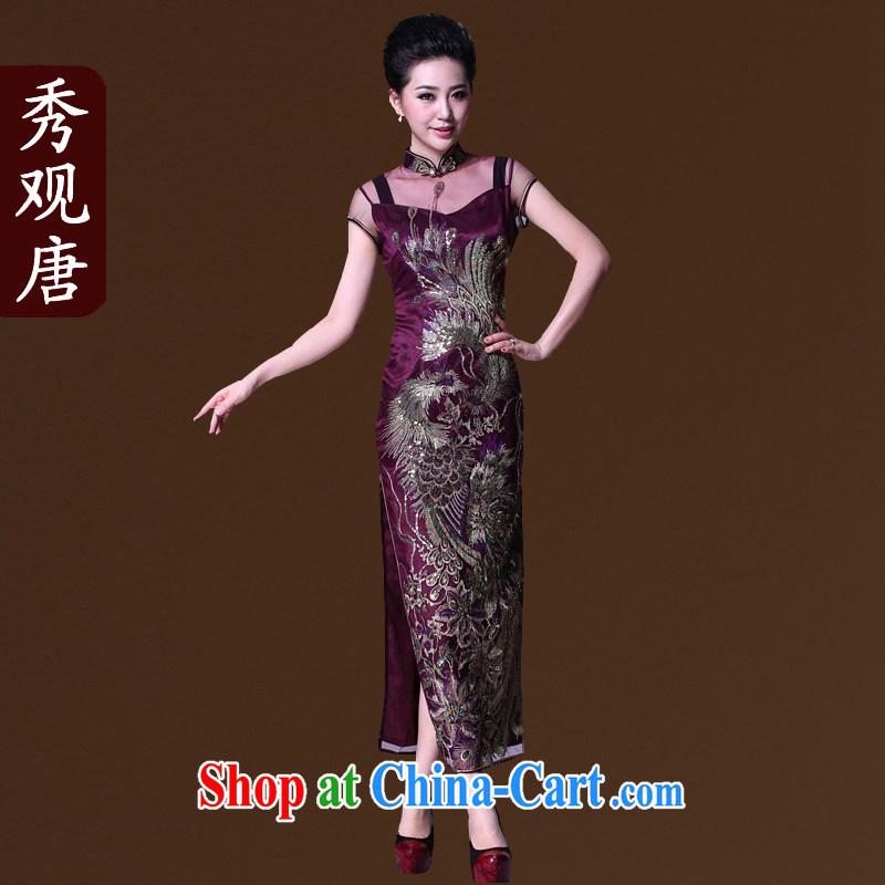 The CYD HO Kwun Tong' double-bong-sun positioning Phoenix lace cheongsam long the forklift truck high dresses evening dress G 81,157 purple XXXL