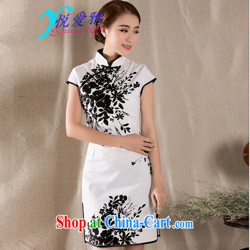 Yue love Ya 2015 summer new stylish China wind stamp improved retro dresses skirts DRZ 12,253 white XXL