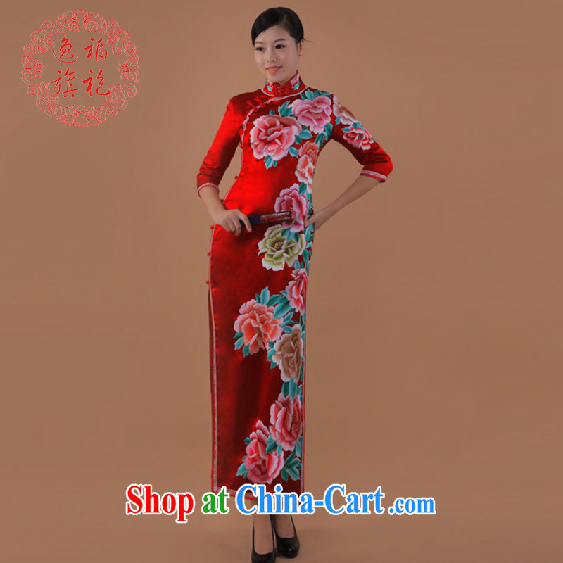once and for all, red wedding dresses Jinling 13 most Peony cheongsam long heavy silk double-sided embroidery dresses brides dresses thanks King red tailored 25 day shipping