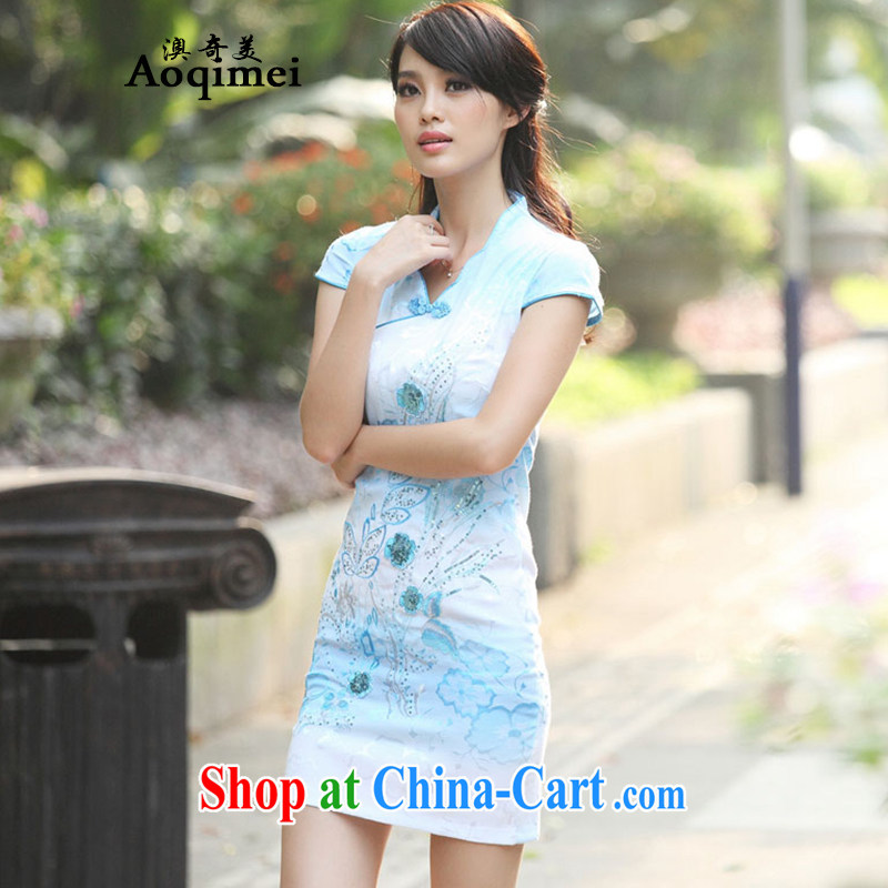 Summer 2015 New Beauty sexy graphics thin 100 solid ground elegant short-sleeved thin dresses retro short, sleek and slim, female A 6920 blue XL