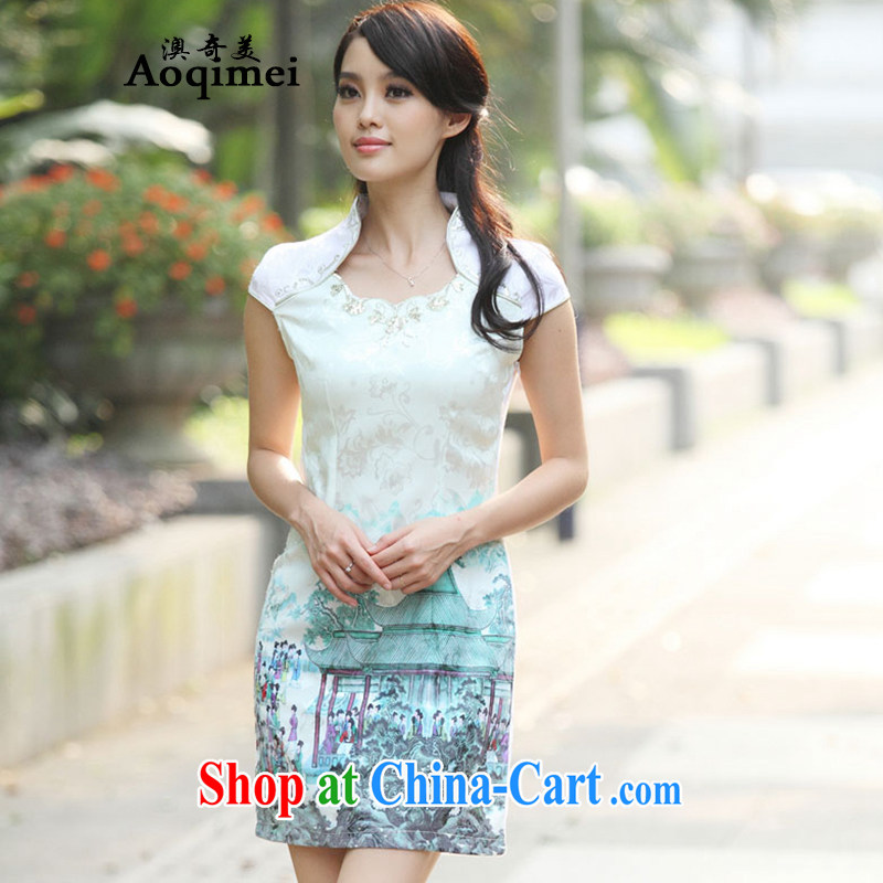 O, the 2015 summer new sweet beauty graphics thin sexy short-sleeved thin, qipao 100 solid ground female A 6919 Indigo color XL