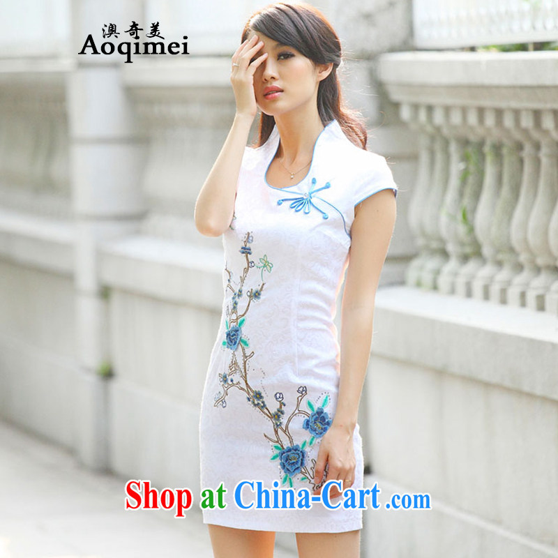 O, the 2015 summer new improved cheongsam Chinese elegant and modern-day outfit short sleeved thin elegant 100 Ground Sense of A 6916 blue XL