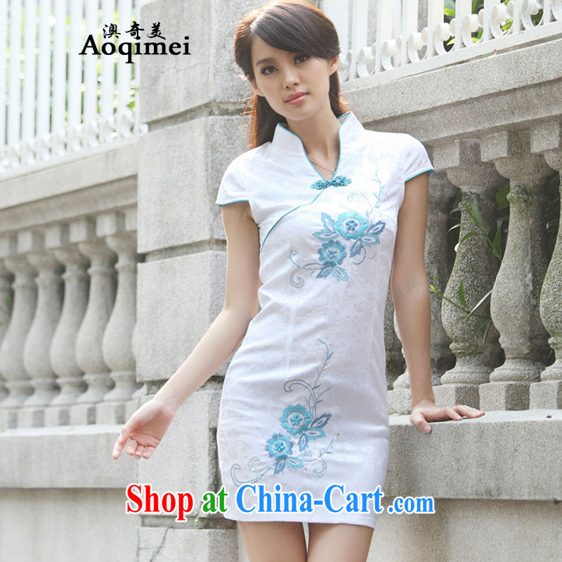O, and the United States summer 2015 new improved Chinese elegant stylish everyday dresses short-sleeved light and elegant 100 Ground Sense of cheongsam A 6913 blue XL