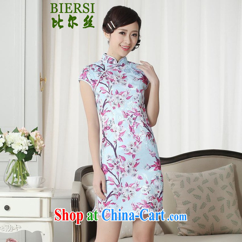 Carl Bildt, summer new elegance Chinese qipao Classic tray snaps cultivating short cheongsam dress LGD/D 0259 #such as figure 2 XL