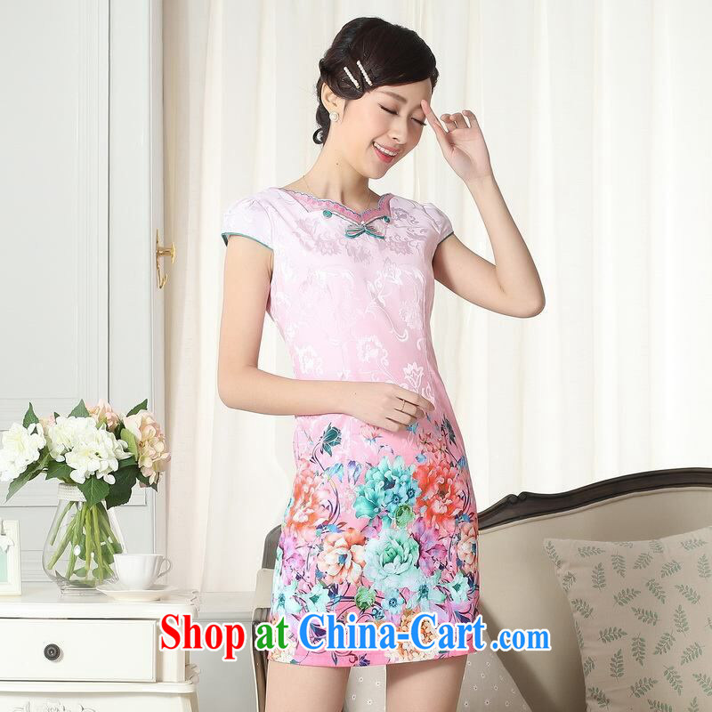 Jing contributed new summer elegance Chinese qipao improved graphics thin short cheongsam picture color 2 XL