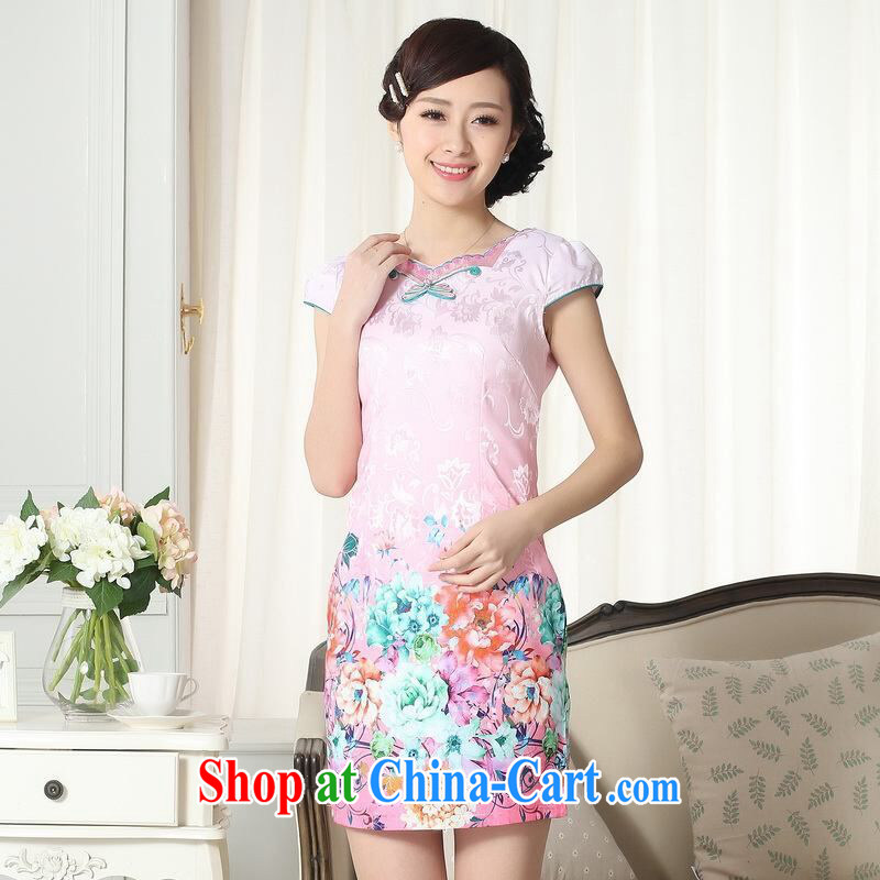 Jing contributed new summer elegance Chinese qipao improved graphics thin short cheongsam picture color 2 XL, an Jing, shopping on the Internet