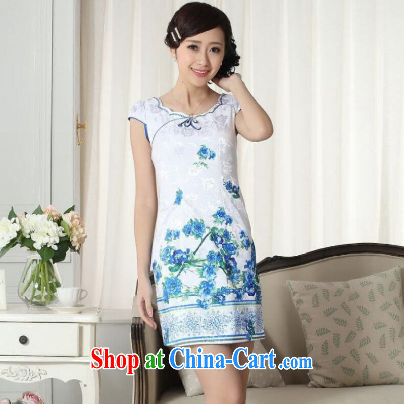 And Jing Ge lady stylish jacquard cotton cultivating short cheongsam dress new improved cheongsam dress white 2XL