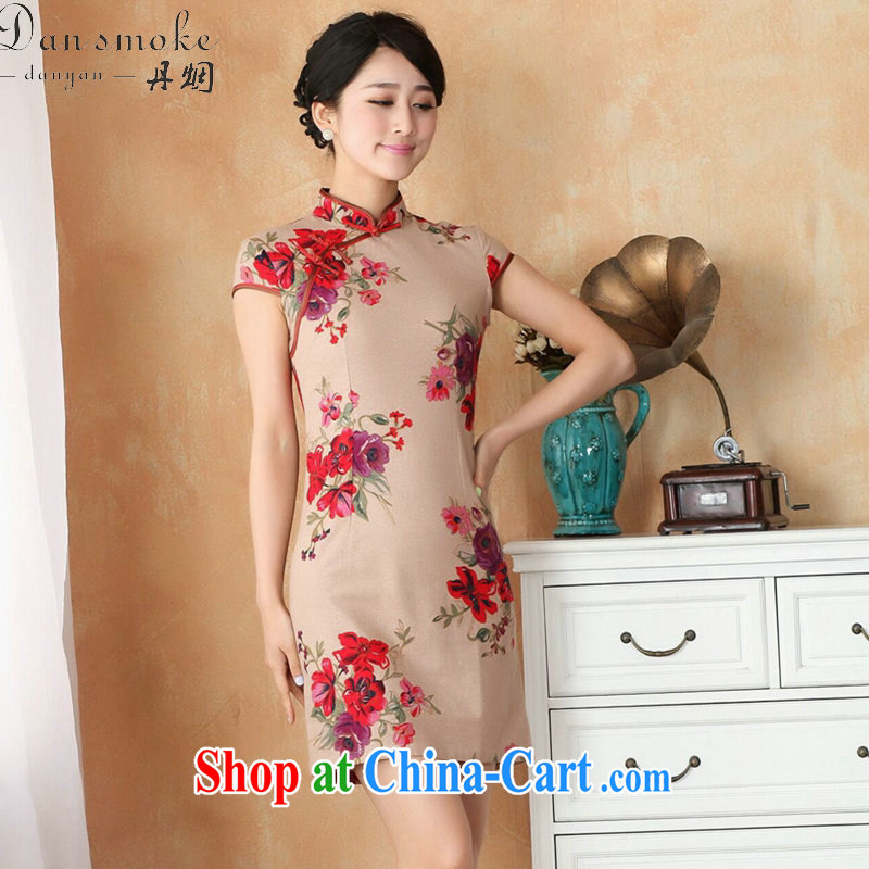 Dan smoke-free Chinese qipao summer new female Chinese improved hand painted dresses show clothing short cotton dresses the Commission as the color 2 XL