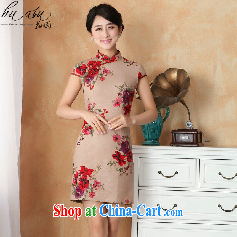 Take the Chinese qipao summer new female Chinese improved hand painted dresses show clothing short cotton dresses the Commission as the color 2 XL