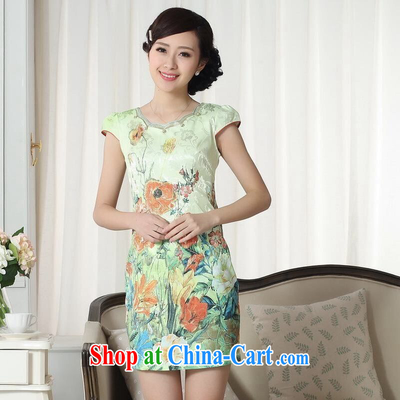 An Jing lady stylish jacquard cotton cultivating short cheongsam dress new improved cheongsam dress picture color 2 XL