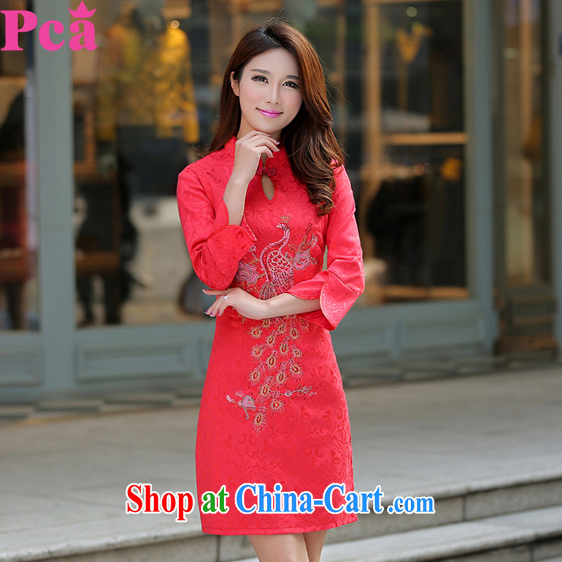 PCA 2015 spring and summer new cheongsam dress toast service improved cultivation embroidered Chinese wind cheongsam dress china red S