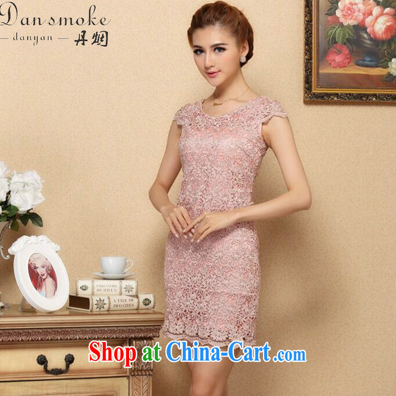 Dan smoke summer Women's clothes new dresses and stylish european water-soluble lace improved cheongsam dress Openwork sexy dresses qipao U collar 2 XL