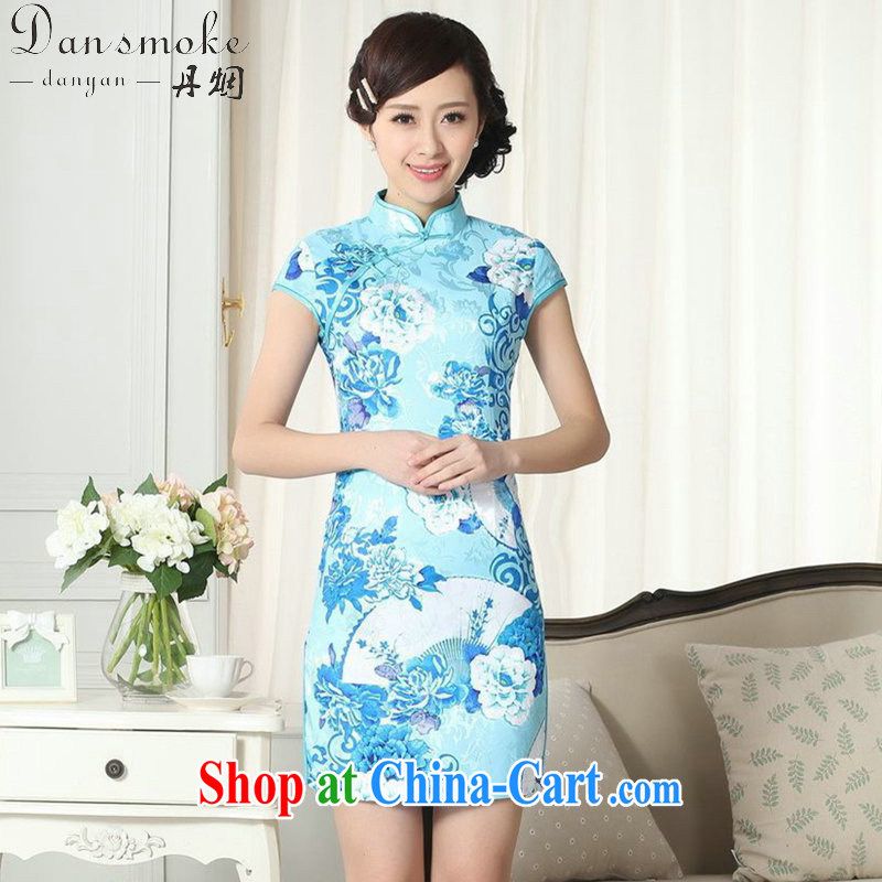 Dan smoke summer new female lady stylish jacquard cotton cultivating short cheongsam dress Chinese, for a tight cheongsam dress picture color 2 XL