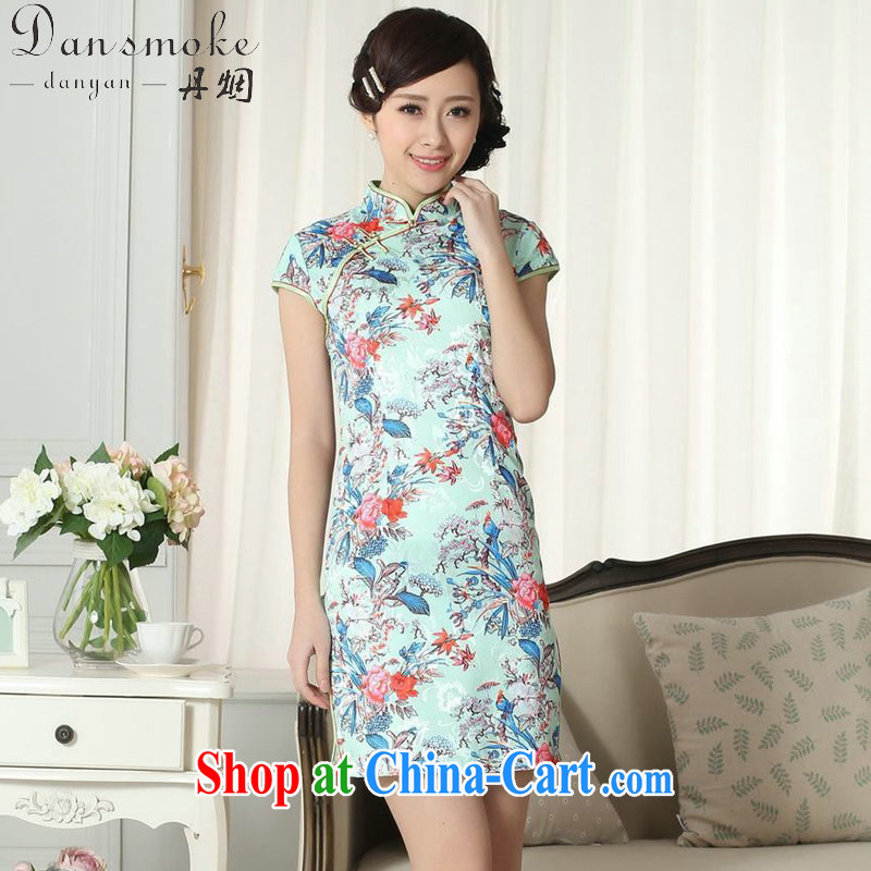 Dan smoke summer new female elegance Chinese qipao,Chinese is hard graphics thin jacquard cotton stamp short cheongsam picture color 2 XL