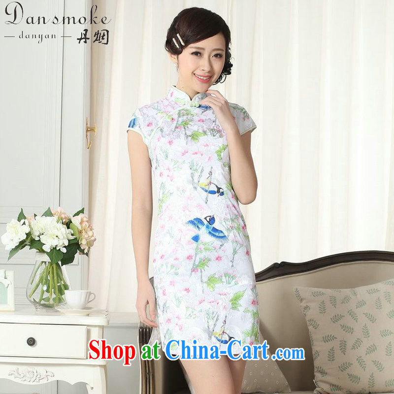 Dan smoke summer new female elegance Chinese qipao, for a tight Chinese graphics thin stamp beauty short cheongsam picture color 2 XL