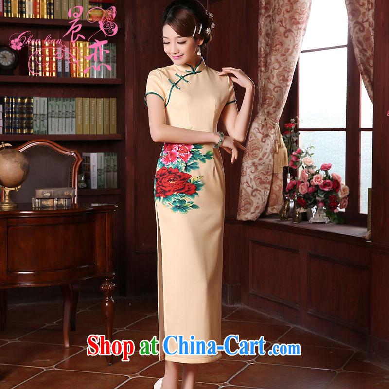 Morning, dresses new 2015 spring retro long, improved stylish Chinese qipao dress rich Peony