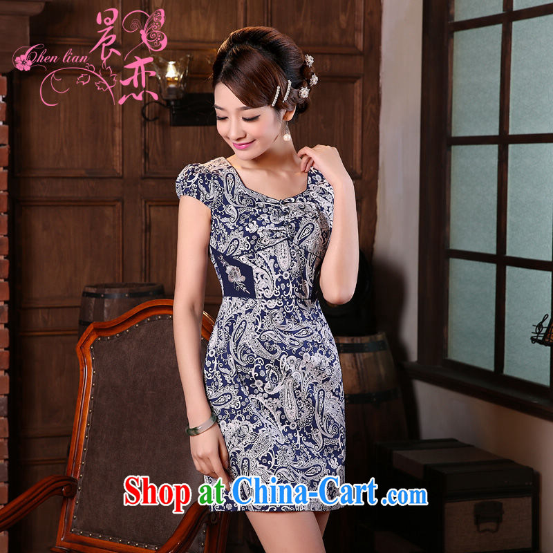 Morning love 2015 summer new stylish improved retro short cheongsam dress Chinese daily blue and white porcelain blue XXL