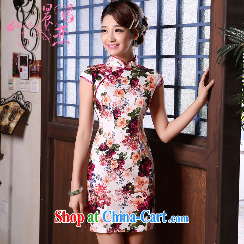 Morning love 2015 summer new stylish improved retro short cheongsam dress Chinese daily stunning rose red XXL